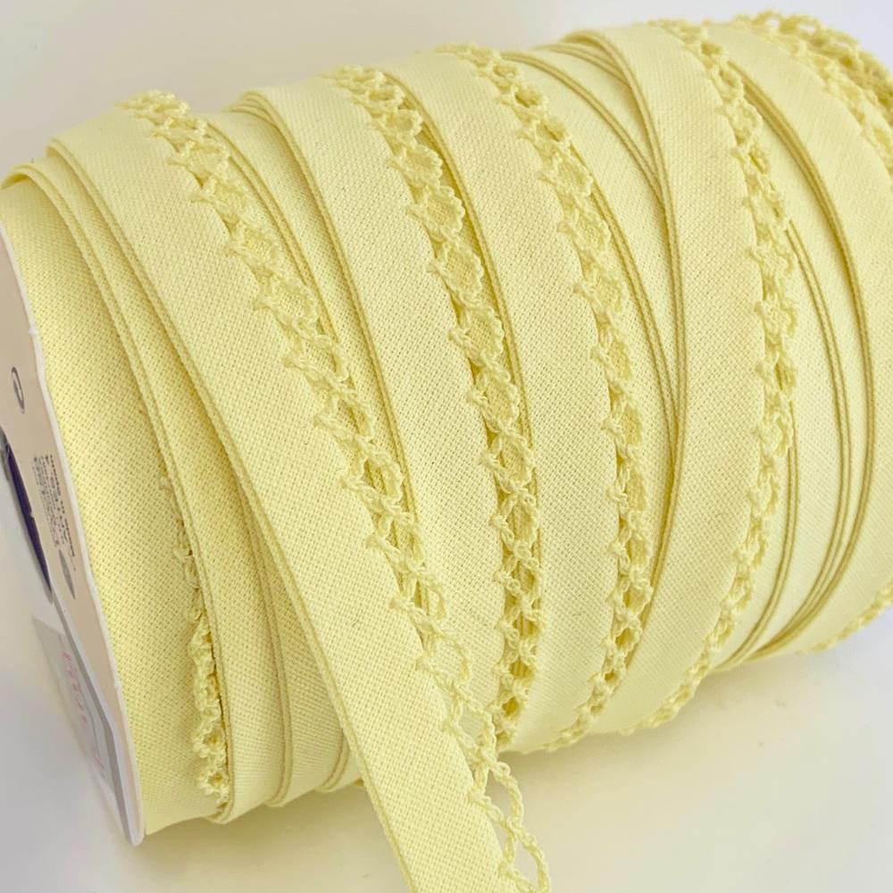 Lemon 12mm Pre-Folded Plain Bias Binding with Lace Edge