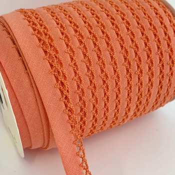Peach 12mm Pre-Folded Plain Bias Binding with Lace Edge