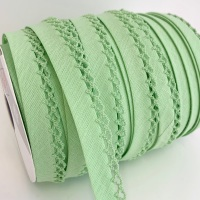 Lettuce 12mm Pre-Folded Plain Bias Binding with Lace Edge