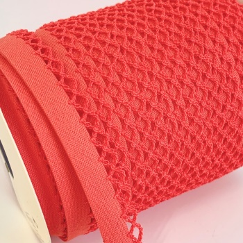 Paprika 12mm Pre-Folded Plain Bias Binding with Lace Edge