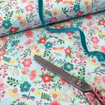 John Louden Fabrics - Butterfly Garden Aqua