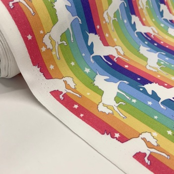 Rose and Hubble Fabrics - 100% Cotton Poplin Rainbow Bright Unicorns