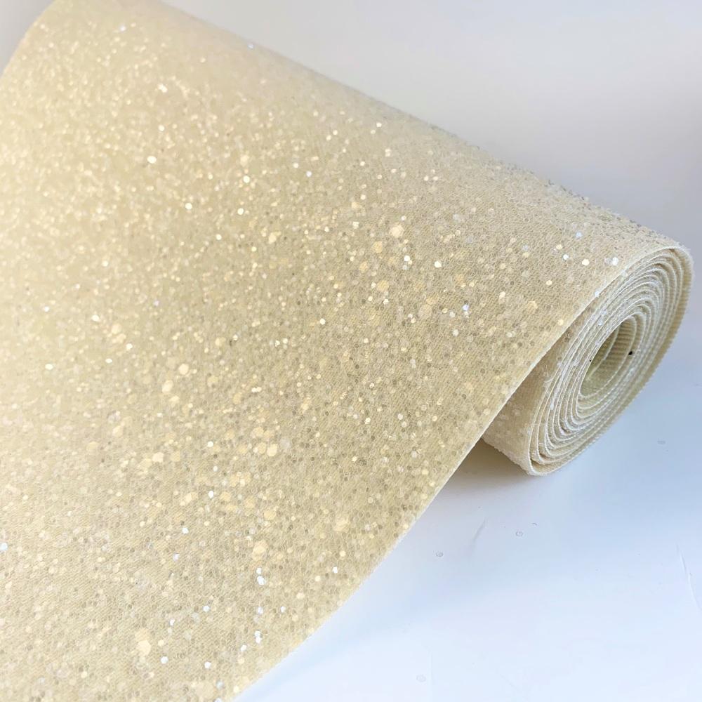 Premium Frosted Glitter Fabric - Cream