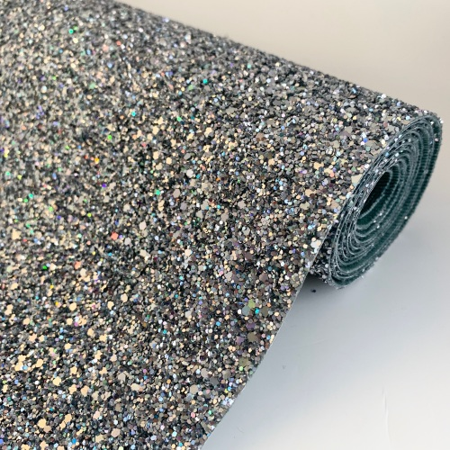 Premium Chunky Glitter Fabric - Holographic Silver