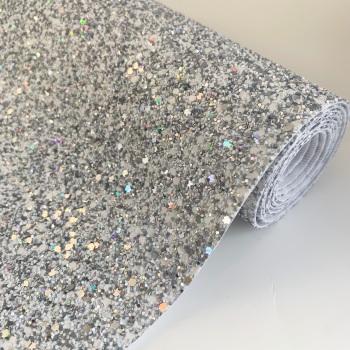 Premium Chunky Glitter Fabric - Holographic White