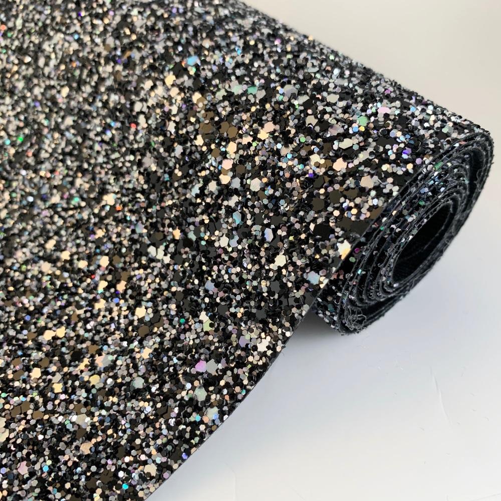 Premium Chunky Glitter Fabric - Holographic Black