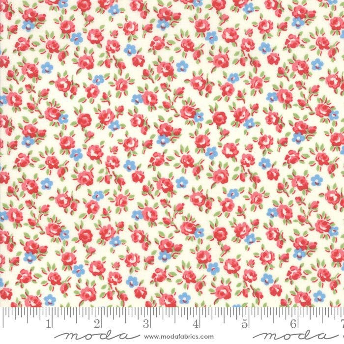 Moda Fabrics - Good Times - Small Floral Cream and Red