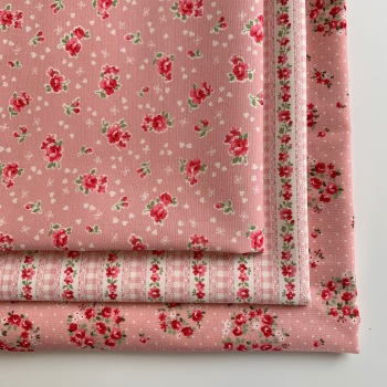 Sevenberry - Lovely Flower Pink Floral - Felt Backed Fabric