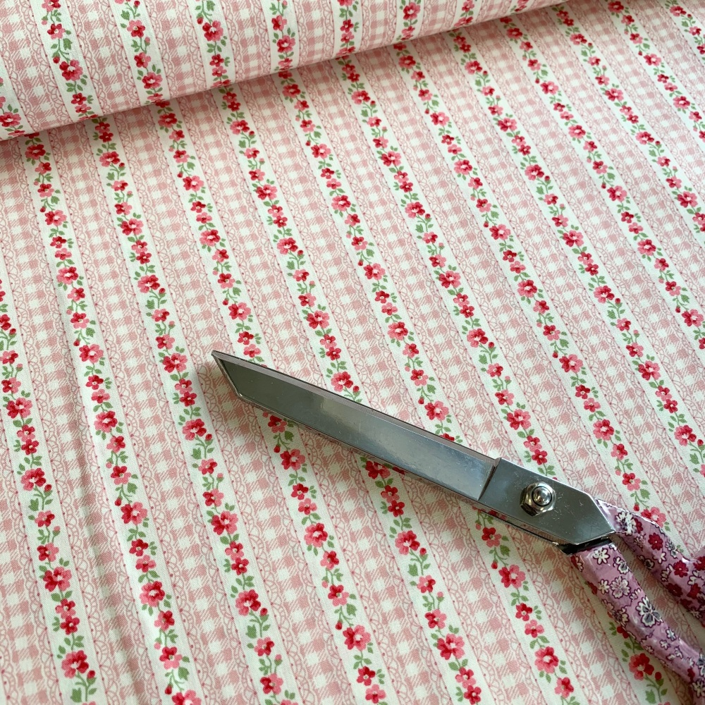 Lovely Flower - Pink  Floral Stripe by Sevenberry