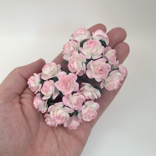 <!--023--> Mulberry Paper Open Roses - Two Tone Baby Pink/Ivory 10mm 15mm 2