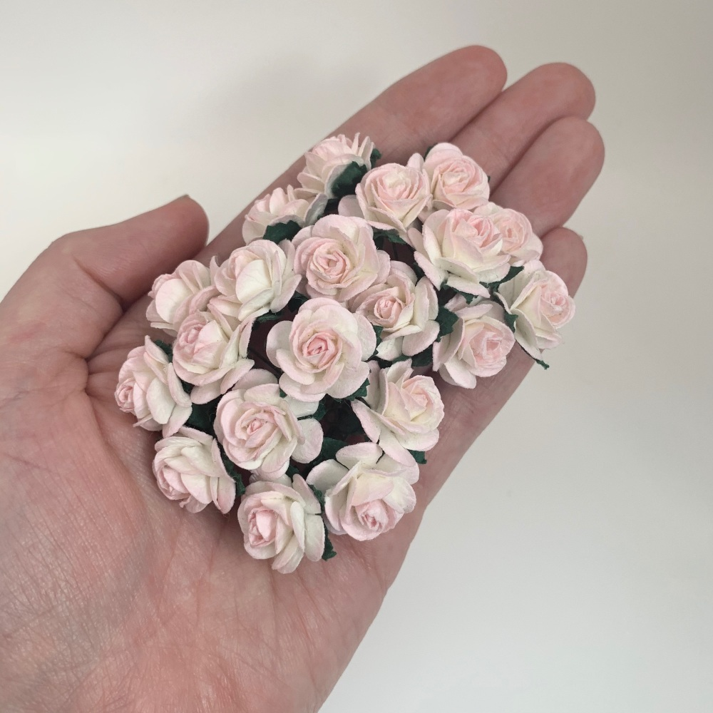 <!--023--> Mulberry Paper Open Roses - Two Tone Pale Pink/Ivory 10mm 15mm 2