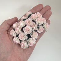 <!--023--> Mulberry Paper Open Roses - Two Tone Pale Pink/Ivory 10mm 15mm 20mm