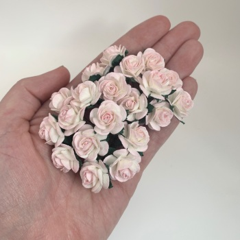 Mulberry Paper Open Roses - Two Tone Pale Pink/Ivory 10mm 15mm 20mm