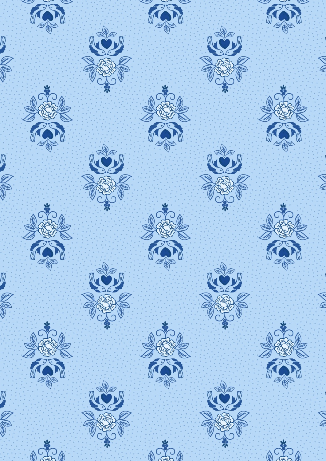 Lewis and Irene - Tea Time - Little Birds Roses on China Blue
