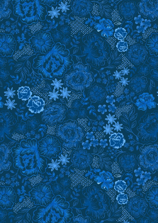 Lewis and Irene - Tea Time - Teatime Floral on Darkest Blue