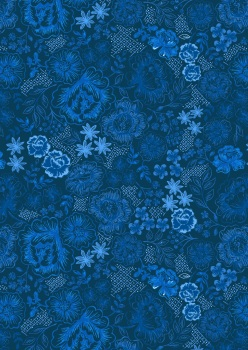 Lewis and Irene - Tea Time - Teatime Floral on Darkest Blue