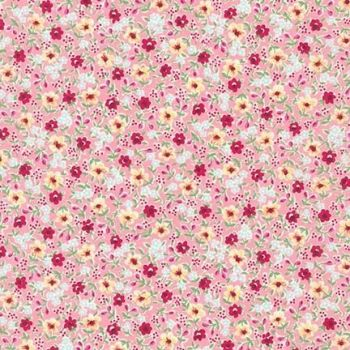 Sevenberry - Petite Garden Posies Pink Floral - Felt Backed Fabric