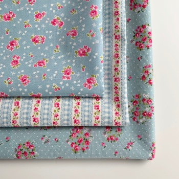 Sevenberry - Lovely Flower Blue Floral - Felt Backed Fabric