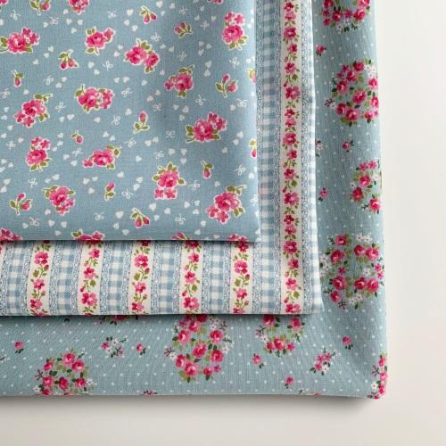 Sevenberry - Lovely Flower Blue Floral - Felt Backed Fabric