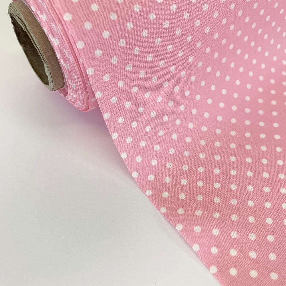 Rose and Hubble Fabrics - 100% Cotton Poplin  3mm Spots Polka Dot Pale Pink
