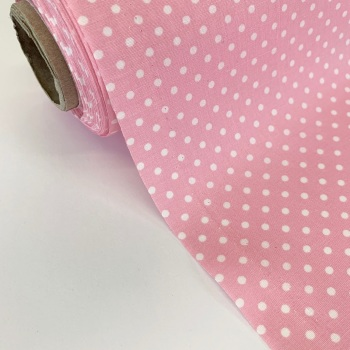 Rose and Hubble Fabrics - 100% Cotton Poplin  3mm Spots Polka Dot Pale Pink