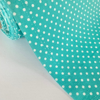 Rose and Hubble Fabrics - 100% Cotton Poplin  3mm Spots Polka Dot Pastel Turquoise
