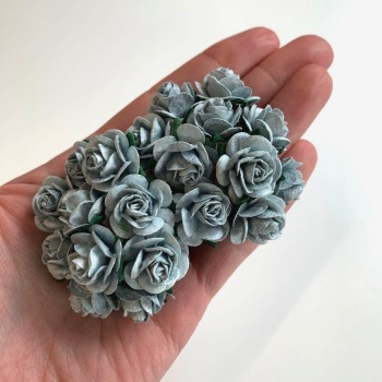 Mulberry Paper Open Roses - Silver 10mm 15mm 20mm