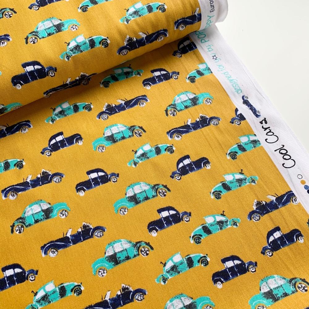 Poppy Europe Fabrics - Cool Cars - Ochre
