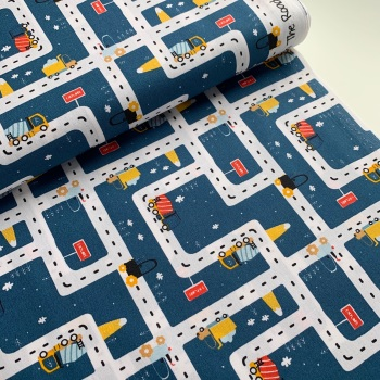 Poppy Europe Fabrics - On the Road - Navy