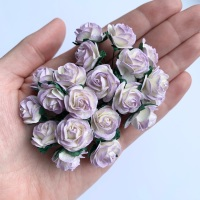 <!--025--> Mulberry Paper Open Roses - Two Tone Lilac 10mm 15mm 20mm