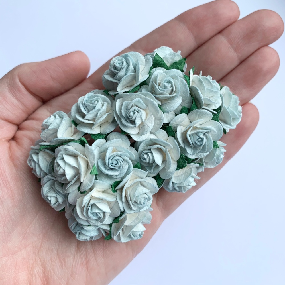 <!--028--> Mulberry Paper Open Roses - Two Tone Blue 10mm 15mm 20mm