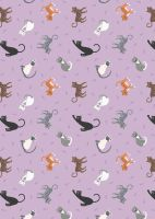 Lewis and Irene -  Small Things Pets - Cats on Warm Lilac
