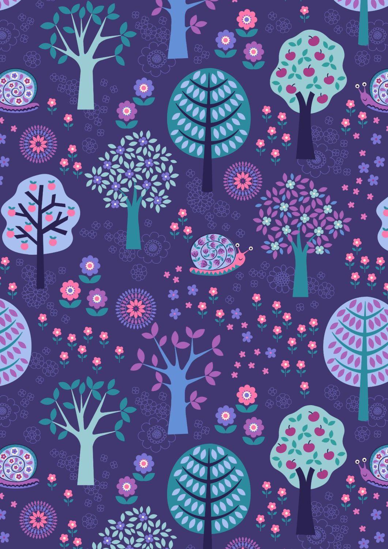 Lewis and Irene - Flower Child -  Groovy Forest on Dark Blue