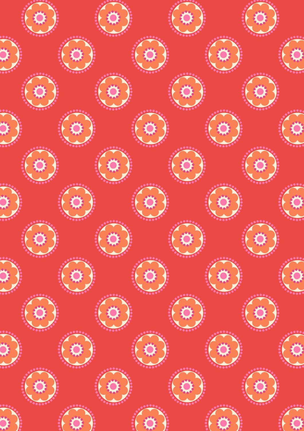Lewis and Irene - Flower Child -  Funky Daisy on Red
