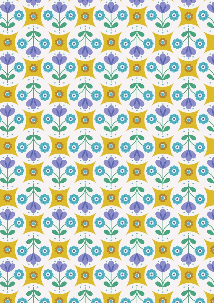 Lewis and Irene - Flower Child -  Fab Floral Circles on Yellow