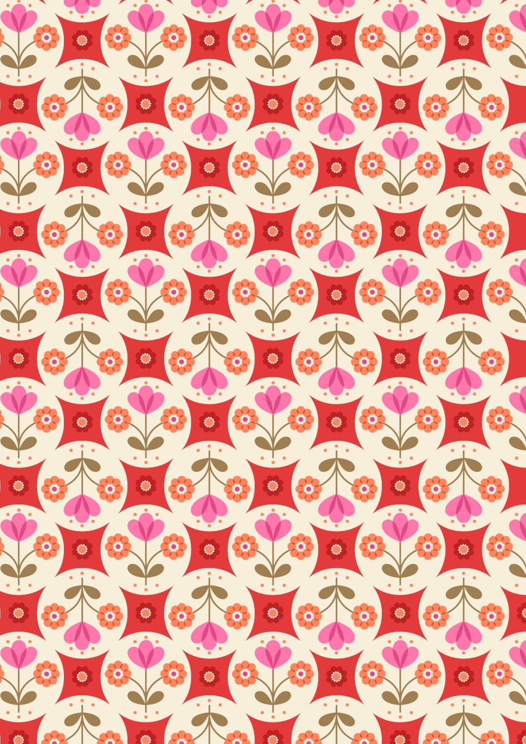 Lewis and Irene - Flower Child -  Fab Floral Circles on Red