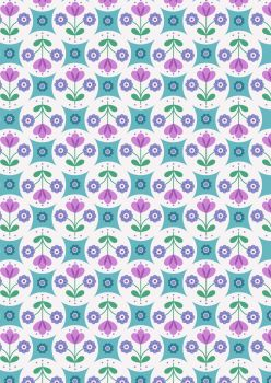 Lewis and Irene - Flower Child -  Fab Floral Circles on Blue