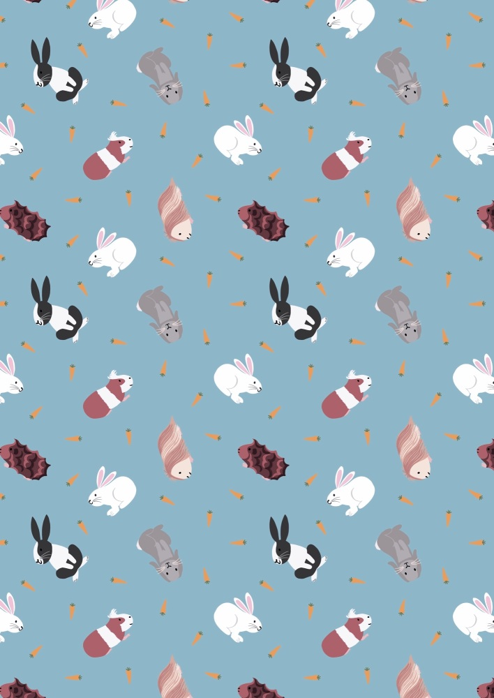 Lewis and Irene -  Small Things Pets - Rabbits and Guinea Pigs on Turquoise