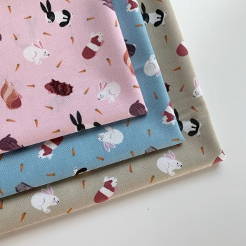 Lewis and Irene - Small Things Pets - Rabbits and Guinea Pigs  - Felt Backed Fabric