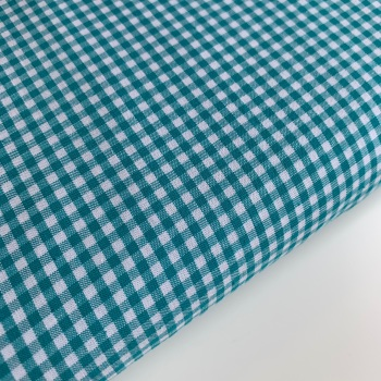 "100% Yarn Dyed Cotton 1/8"" Gingham - Teal"