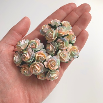 Mulberry Paper Open Roses - Pastel Rainbow 10mm 15mm 20mm