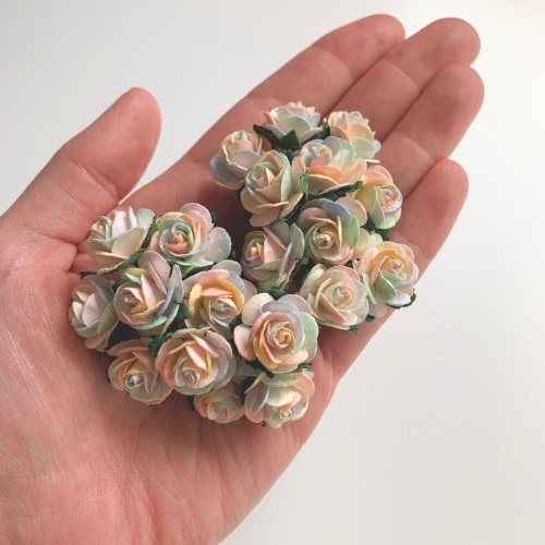 <!--001--> Mulberry Paper Open Roses - Pastel Rainbow 10mm 15mm 20mm
