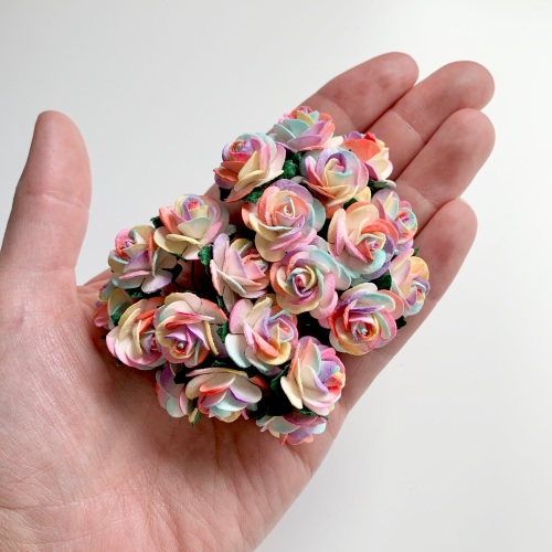 <!--001--> Mulberry Paper Open Roses - Two Tone Rainbow 10mm 15mm 20mm