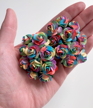 Mulberry Paper Open Roses - Bright Rainbow 10mm 15mm 20mm