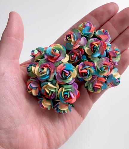 <!--001--> Mulberry Paper Open Roses - Bright Rainbow 10mm 15mm 20mm