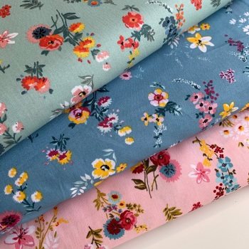 Poppy Europe - Flowery Pink, Blue, Ochre and Mint - Felt Backed Fabric