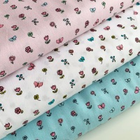 Poppy Europe - Pretty Princess Floral - White, Blue and Pink - Felt Backed Fabric
