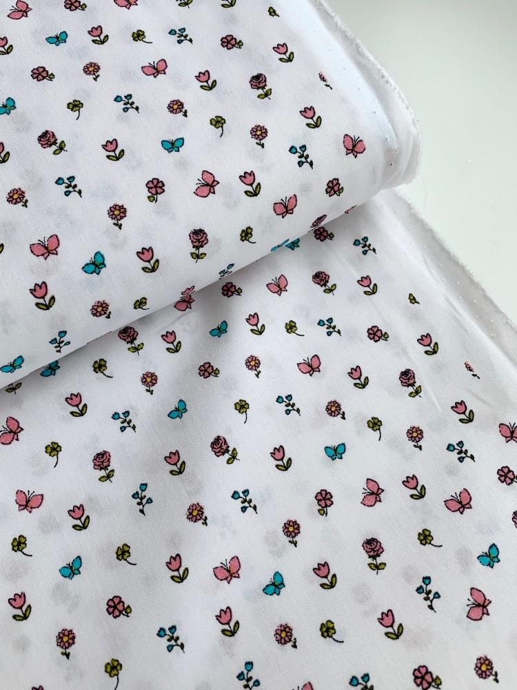 Poppy Europe Fabrics - Pretty Princess Floral - White