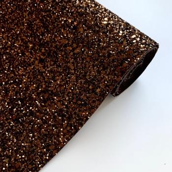 Premium Chunky Glitter Fabric - Bronze