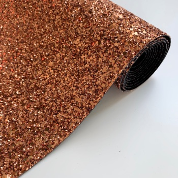 Premium Chunky Glitter Fabric - Copper